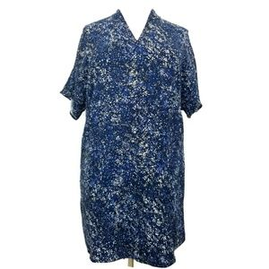 Lands End 16W 16 W Dress Tunic Blue White NWOT